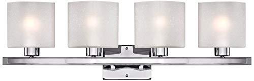 Possini Euro Linen Glass 32'' Wide Chrome 4-Light Bath Light - Possini Euro Design by Possini Euro Design (Image #1)