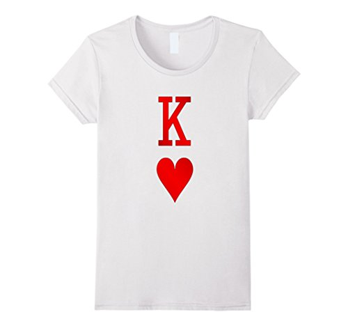 [Womens Playing Cards Costume, Halloween King of Hearts Tee Shirt Medium White] (King Of Hearts Halloween Costume)