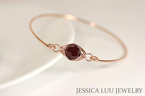 - Rose Gold Garnet Bangle Bracelet with Siam Swarovski Crystal Wire Wrapped Rose or Yellow Gold Filled Bracelet