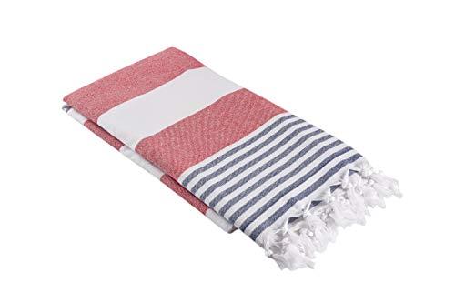 (Oversized Turkish Towel, Soft Terry Cloth Back, Striped Turkish Bath Towel, Beach Towel, Extra Large Peshtemal Bath Sheet for Plus Size, Nautical Style Thin Hammam Towel, Cotton Fouta (RED & NAVY))