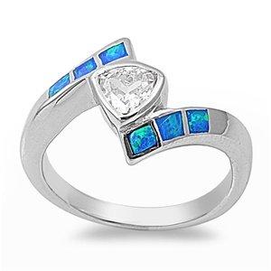 13MM Sterling Silver HEART / TRILLION CLEAR CZ W/ BLUE OPAL BIRTHSTONE BAND Ring (.925 FINE ITALIAN STERLING SILVER, 7)