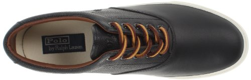 Polo Ralph Lauren Mens Vaughn Selle Mode Sneaker En Cuir Noir