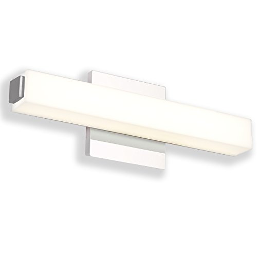 JUSHENG Wall Lights 12W Neutral White 4000K LED Small Wall Lights 16.5 inches White Acrylic Rectangle Tube Vanity Light Bathroom & Bedroom Light Fixtures