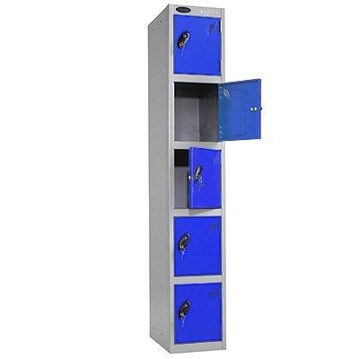 5 Door Metal Storage Locker (Blue Door / Silver Body) - Choice of Size & Colour - Ref LK5S/35/BL/SV by Davpack