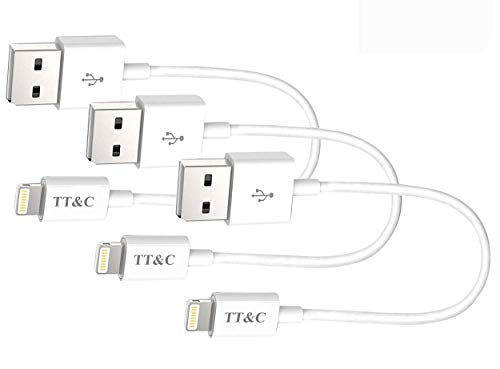 TT&C iPhone Lightning Short Cable [ 7inch 3-Pack ] Supreme Quality Syncing and Charging Cord for iPhone 8,  X,  7, 7Plus, 6, 6s, 5, iPad Mini, Air, iPad