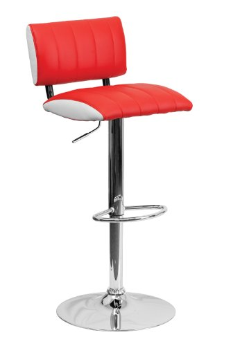 Flash Furniture Contemporary Two Tone White Vinyl Adjustable Height Footrest Bar Stool with Chrome Base