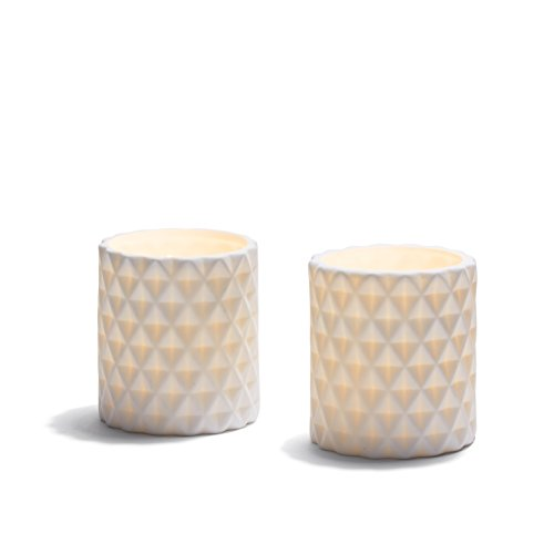 White Ceramic Candle Holders with Decorative Built-in Flameless Candles, Warm White LED Glow, Textured Pottery Holders, Indoor Use - Set of 2 (Pillar Pottery)