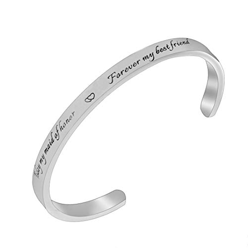 RUNXINTD Maid of Honor Bracelet Today My Maid of Honor Forever My Best Friend Wedding Gift Bridal Party Jewelry (Silver-CB)