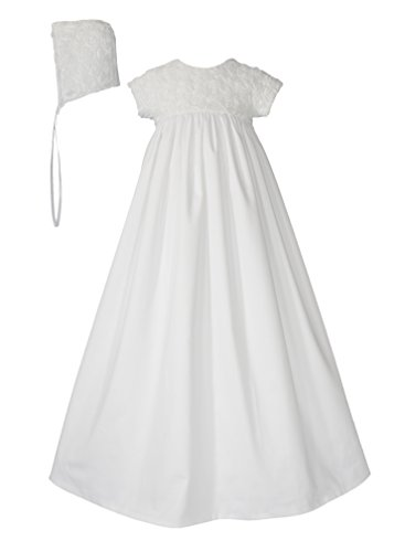 Little Things Mean A Lot Girls White Cotton Sateen Dress Christening Gown with Rosette Netting - 3 Months