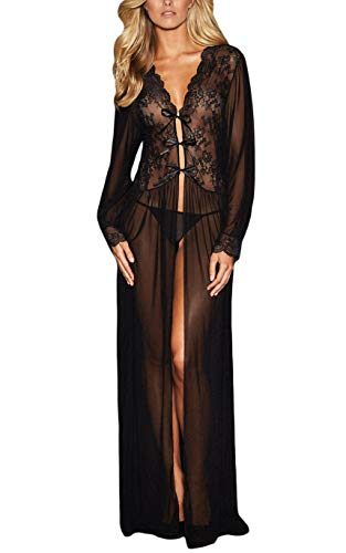 Women Nightgown Lingerie Mesh Long Sleeve Lace Robe with Thong Black Gown Dress - Lace Vintage Teddies