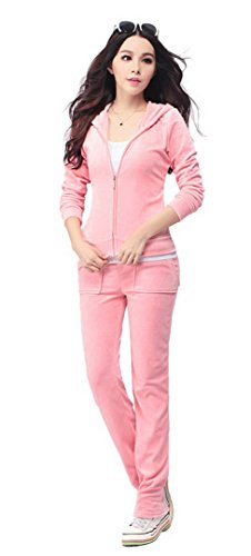 Women'S Velour Hoodie+Pant Tracksuit Sport Sweat Suit Set - Pink - XL ()