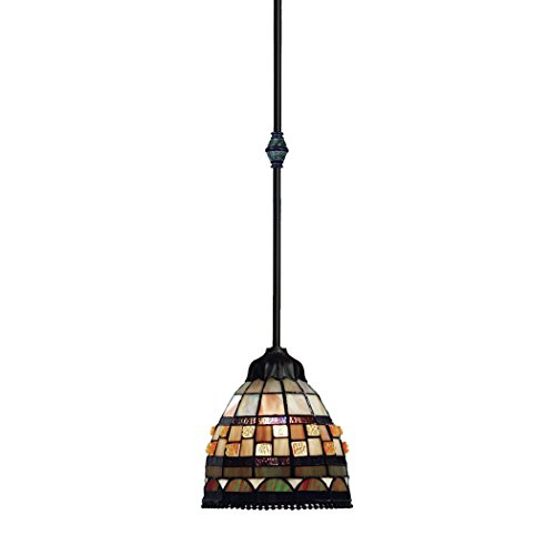 Jewelstone 1 Light (Alumbrada Collection Jewelstone 1 Light Pendant In Classic Bronze And Multicolor Glass)