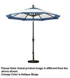 California Umbrella 9' Round Aluminum Market Umbrella, Crank Lift, Collar Tilt, Black Pole, Antique Beige Olefin