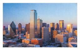 Ambesonne United States Doormat, Dallas Texas City with Blue Sky at Sunset Metropolitan Finance Urban Center, Decorative Polyester Floor Mat with Non-Skid Backing, 30 W X 18 L Inches, Multicolor ()