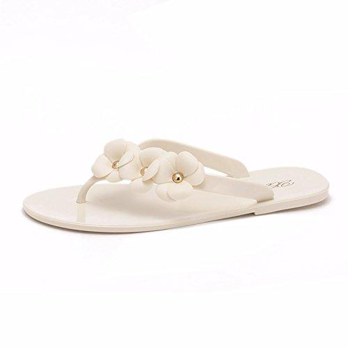 mujeres Blanco coreana zapatillas versión Verano zapatos flores Flip planas para zapatillas Fría la las zapatillas Flops ZBnI1