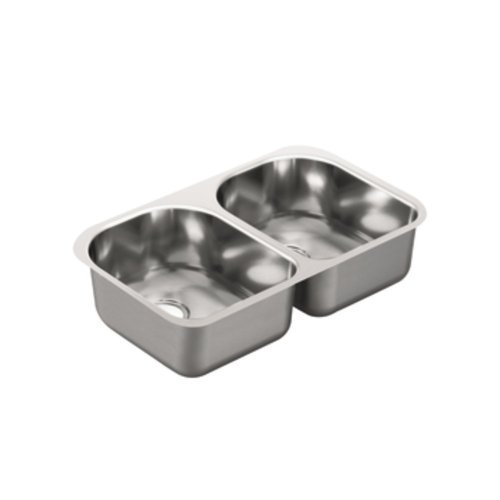 Moen G18256 1800 Series 18 Gauge Double Bowl Undermount Sink, Stainless Steel by Moen by Moen