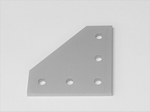 5-Hole 90 Degree Joining Plate (2 Pack), Aluminum, Corner, Angle, Bracket, Joint for 2020, 20 Series T Slot Extrusion (2 Hole Angle Plates)