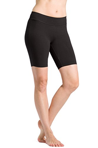 Bamboo Spandex Shorts - Fishers Finery Women's Ecofabric Classic Yoga Training Running Short; Mid Thigh (Black, XL)