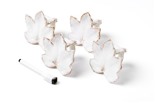 Mikasa Countryside Harvest Set of 4 Leaf Napkin Rings with Write-On Pen