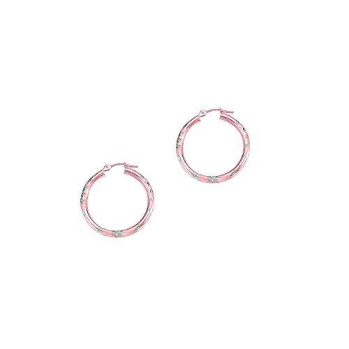 14k Pink-rose Gold 3x25mm Diamond Cut Finish Round Hoop Earring
