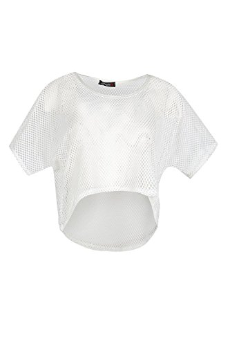 Baggy Crop (Womens Ladies Crochet Mesh Net See Through High Low Oversized Baggy Crop Top)