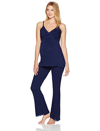 - Belabumbum Women's Before & After Maternity and Nursing Pajama Set, Navy L