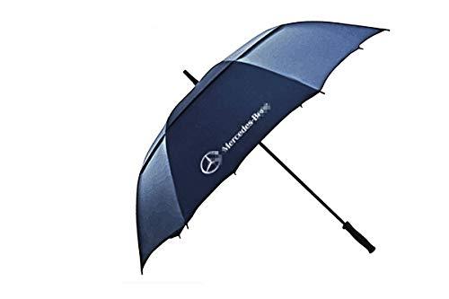 YI MEI DA for car Logo Golf Umbrella Large 54 Inch Automatic Open Golf Umbrella Extra Large Oversize Double Canopy Vented Umbrella Windproof Waterproof. (54 inch, Mercedes-Benz Blue)