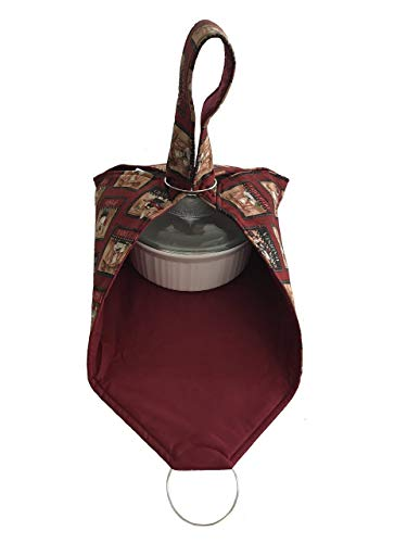 """Insulated Casserole Carrier Handmade Dish Carrier Holiday Gift perfect for Potlucks, Picnics and Parties by PotluckPro TM 22"""" x 22"""" - French Chef"""
