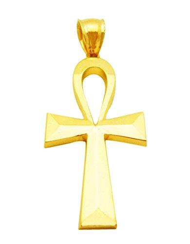 AMZ Jewelry 10k Yellow Gold Egyptian Ankh Cross Gold Pendant