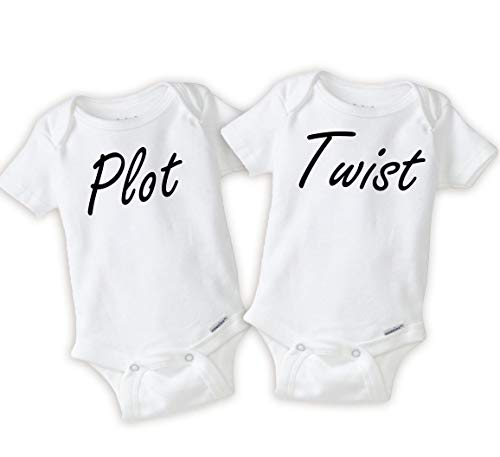 Twins Outfit Plot Twist Onesie Combo Idea Pregnancy Announcement (3-9 Months) White