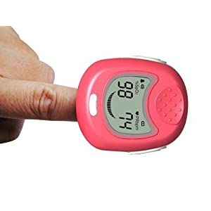 Pediatric Finger Pulse Oximeter and heart rate monitor with rechargeable battery, mains charger and carry strap