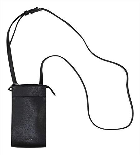 DKNY Bryant Genuine Leather Crossbody Smart Phone Sized Purse (Black)