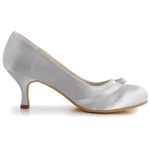 Mujer Zapatos Elegantpark Blanco Satén Para Vestir De 868pU