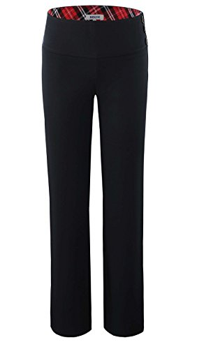 Bienzoe Girl's School Uniforms High Tech Durable Adjust Waist Pants Black 10 by Bienzoe