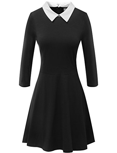 Mely Shine Women's 3/4 Sleeve Peter Pan Collar Casual Dress Black X-Small (Black Peter Pan Collar Dress compare prices)