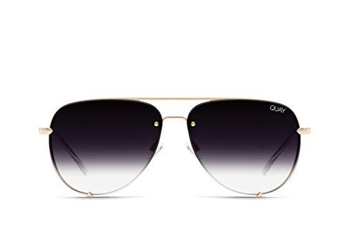 (Quay Women's High Key Mini Rimless Sunglasses, Gold/Fade, One Size)