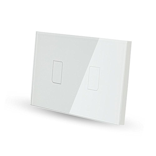 Smart Wall light Switch, Broadlink 220V 2 Gang Touch Panel Wi-fi Enabled Light Control Switch Glass Crystal, White