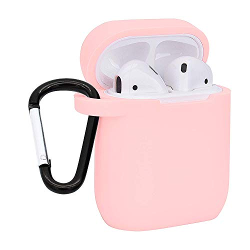 AirPods Case, Shockproof Protective Premium Silicone Cover Skin for AirPods Charging Case 2 & 1 with Keychain (Pink)