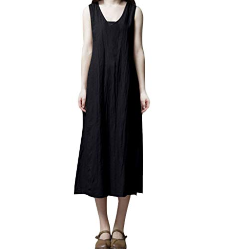 (LHVUOA Casual Women Cotton Linen V-Neck Sleeveless Pocket Loose Waist Long Maxi Dress Black)