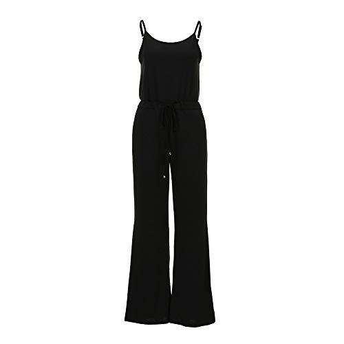 - Eakyool Elastic Loose Waist Slim Pockets,Women Sleeveless Jumpsuit Ladies Casual Loose Playsuit Long Trousers Black