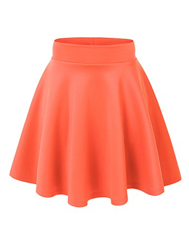 MBJ WB669 Womens Basic Versatile Strechy Flare Skater Skirt XL NEON_Coral (Skirt Peeks)
