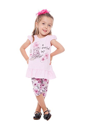 Toddler Girl Outfit Graphic Shirt and Floral Capri Pants Set 3 Years -Light Pink (Toddler Girls Capri Set)