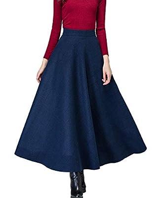 Femirah Women's High Elastic Waist Maxi Skirt A-line Plaid Winter Warm Flare Long Skirt