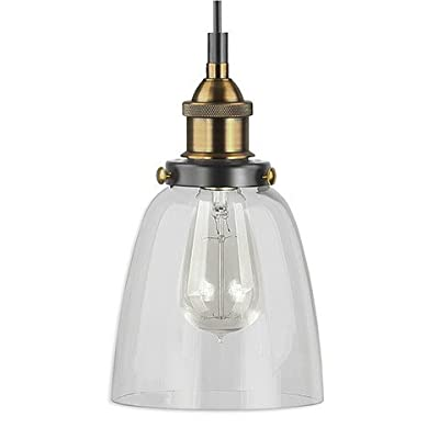 Linea di Liara Fiorentino One-Light Industrial Factory Pendant Lamp with Clear Glass Shade