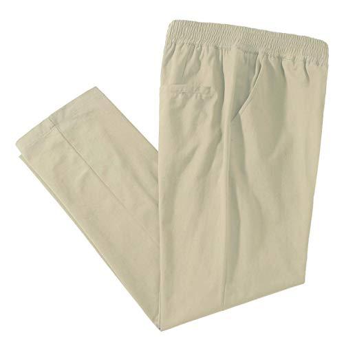 IDEALSANXUN Men's Casual Cotton Pant Elastic Waist Loose Twill Pants (38, Twill Light Khaki)