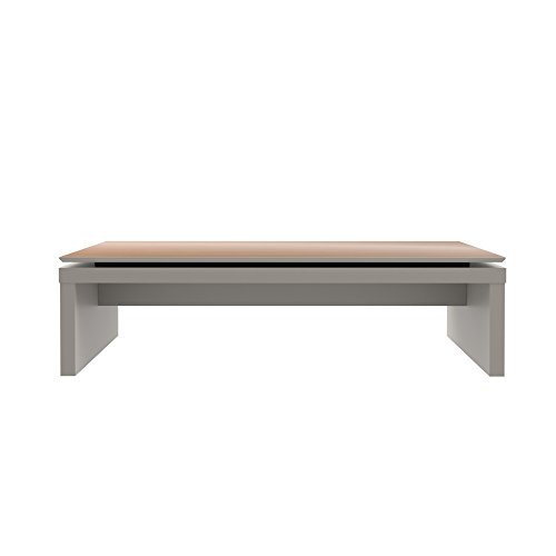 Manhattan Comfort Lincoln Collection Contemporary Accent Rectangle Living Room Coffee Table, White/Wood - Bedroom Contemporary Coffee Table