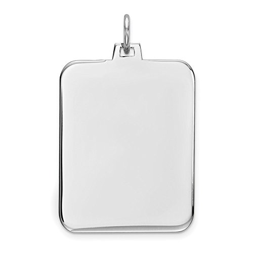 Sterling Silver Engraveable Rectangle Dog Tag Polished Front Disc Charm Pendant 32mm
