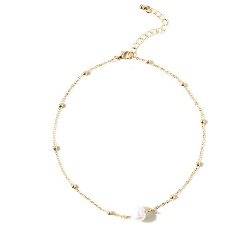 Luckyblue Simple Tiny Dainty Pearl Choker Necklace Clavicle Necklace for Women Ladies (Gold Chain - Pearl Dainty