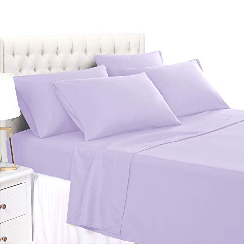 BASIC CHOICE Twin 4 Piece Sheet Set - Soft 2000 Wrinkle & Fade Resistant Bedding Sheet Twin, Lavender