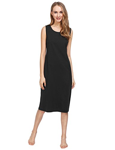 Latuza Women's Cotton Sleeveless Nightgown Long Nightshirt 2X (100 Cotton Sleeveless)
